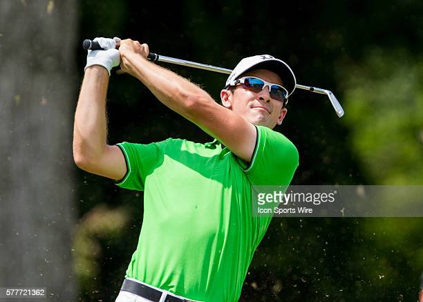 Scott Langley hits an iron shot off of the 16th par 3 tee box during the second round of the Wyndham Championship at Sedgefield Country Club in...