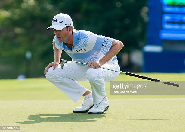 Webb Simpson during the second round of the Wyndham Championship at Sedgefield Country Club in Greensboro, NC.