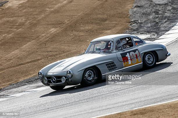 A 1955 MercedesBenz 300SL Gullwing in Group 2A at turn 8a during the Rolex Monterey Motorsports Reunion held August 13162015 at Mazda Raceway in...