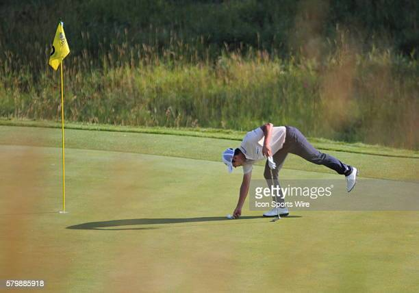 Danny Lee of New Zealand on number nine green in continuing round two action that was suspended Friday due to weather Saturday morning of the PGA...
