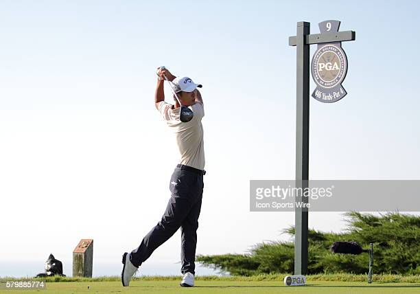 Danny Lee of New Zealand tees off on number nine in continuing round two action that was suspended Friday due to weather Saturday morning of the PGA...