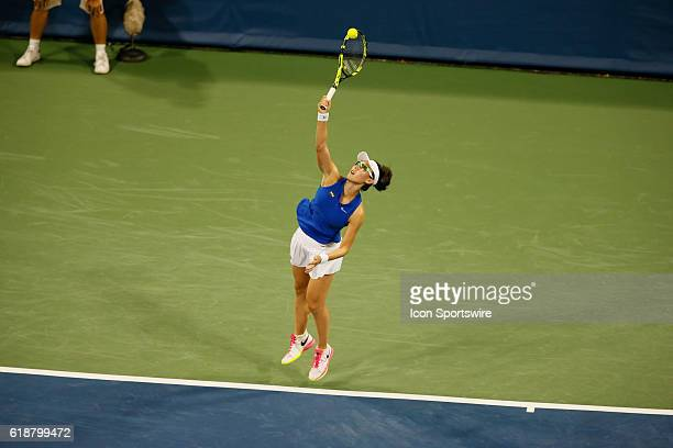 Saisai Zheng hits a serve during the first round of The Western & Southern Open, August 15th, 2016 in Mason, OH. .