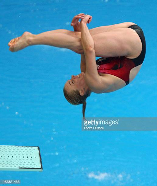 August 15 Blythe Hartley qualifies third for the semi final in 3 m springboard at National Aquatic Center at the XXIX Olympiad in Beijing on Friday...