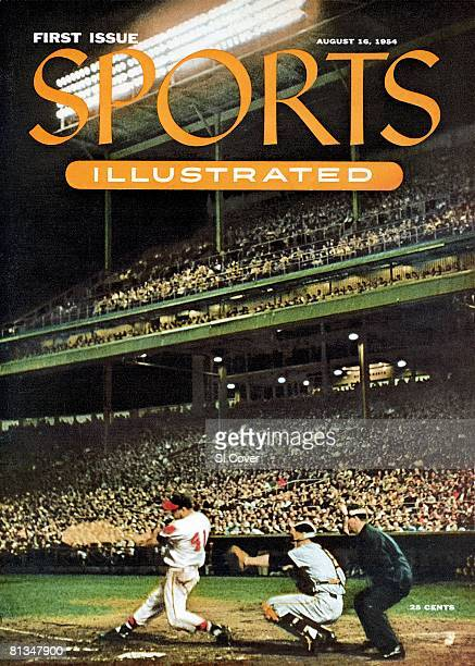 August 16 1954 Sports Illustrated Cover Baseball Milwaukee Braves Eddie Mathews in action at bat vs New York Giants Wes Westrum View of umpire Augie...