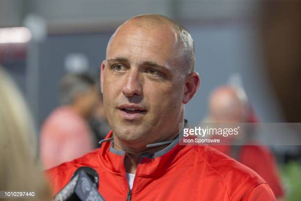 Coach Zach Smith talking to the media during the Ohio State Football Media Day at the Woody Hayes Athletic Center in Columbus Ohio