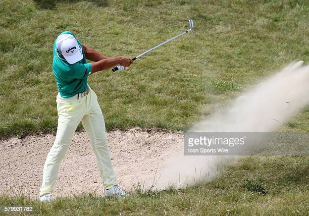 Danny Lee of New Zealand blasts out of a bunker on number nine during the final round of the PGA Championship at Whistling Straits in Kohler WI