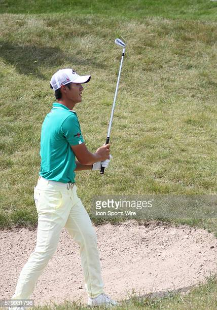 Danny Lee of New Zealand in a bunker on number nine during the final round of the PGA Championship at Whistling Straits in Kohler WI