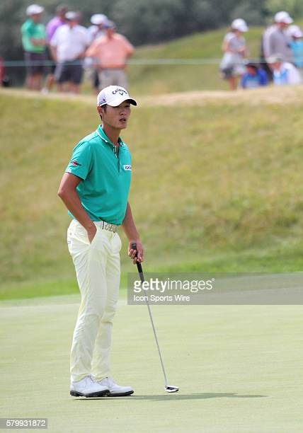 Danny Lee of New Zealand on the eleventh green during the final round of the PGA Championship at Whistling Straits in Kohler WI