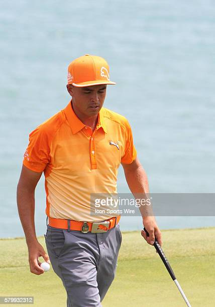 Rickie Fowler leaves number twelve green during the final round of the PGA Championship at Whistling Straits in Kohler WI