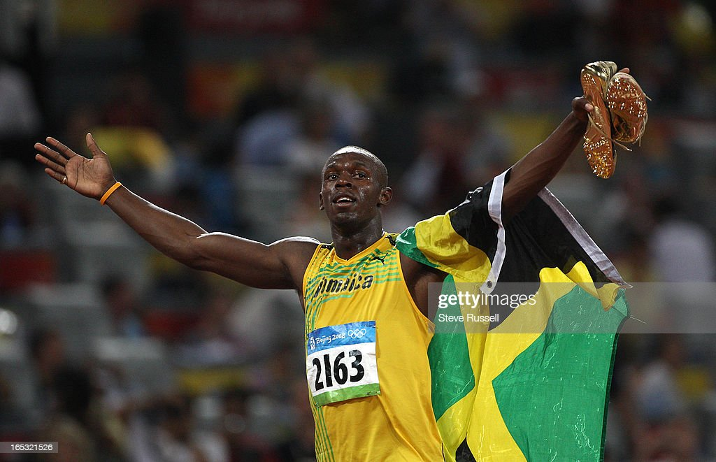 August 16, 2008, Usain BOLT of Jamaica sets the world record at 9.69 when he wins the 100 m dash fin : News Photo
