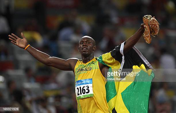 August 16 Usain BOLT of Jamaica sets the world record at 9.69 when he wins the 100 m dash final at the National Stadium on the Olympic Green at the...