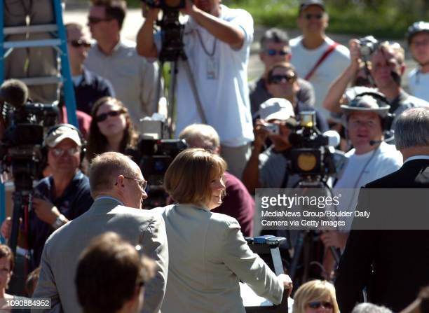 August 17 2006/ Boulder / Boulder District Attorney Mary Lacy speaks to the media at Boulder County Justice center after about the arrest of John...