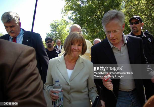 August 17 2006/ Boulder / Boulder District Attorney Mary Lacy walks back to the Boulder County Justice Center after speaking with the media about the...