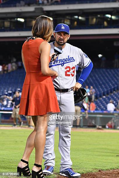 SportsnetLA reporter Kelli Tennant interviews Los Angeles Dodgers First base Adrian Gonzalez [3208] during a Major League Baseball game between the...
