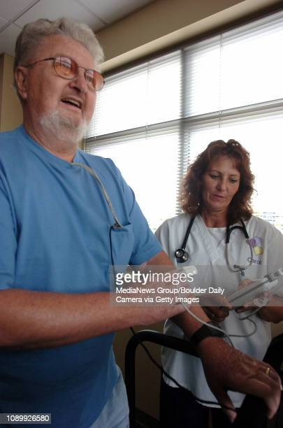 August 18 2006/ Lafayette/ John Wuerthner of Broomfield is doing cardiac rehab at the Community Physician's Pavilion in Lafayette while RN Carol...