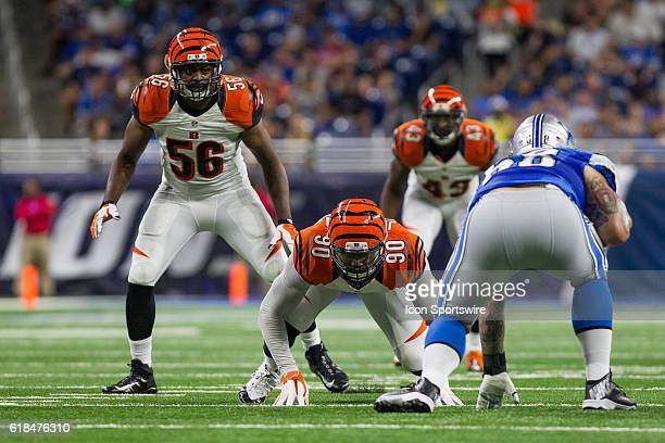 Cincinnati Bengals defensive end Michael Johnson and Cincinnati Bengals linebacker Karlos Dansby wait for the snap of the ball during game action...