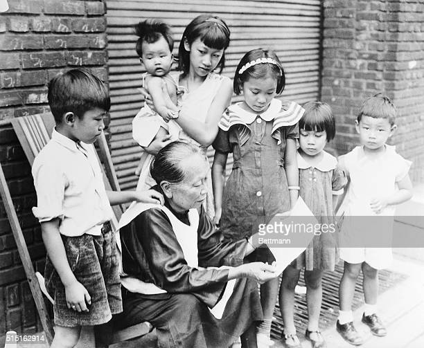 August 18 Philadelphia PA 'Grandmother' Moy the oldest Chinese resident of Philadelphia PA as she read the reports of the SinoJapanese war to her...