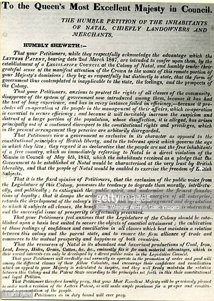 August 1848: A page from The Natal Witness, 25th August, 1848. This petition was published after the original had been sent to England. This was the...