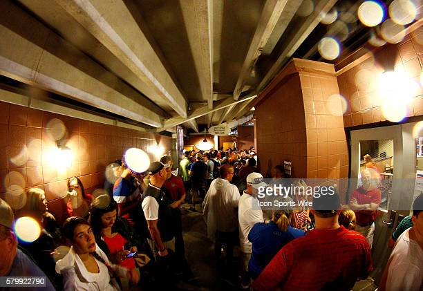The fans seek shelter in a tunnel during a weather delay The United States of America vs Costa Rica international friendly soccer match was suspended...
