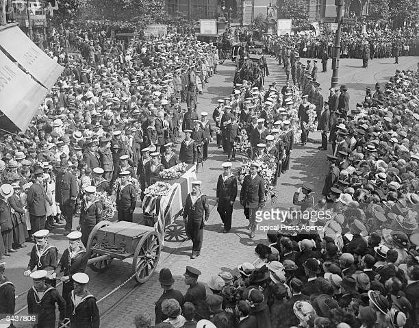 The funeral procession in East Ham of John Travers Cornwall who died as a result of wounds sustained in the Battle of Jutland The sixteen year old...