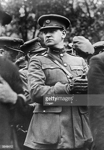 Irish soldier and nationalist politician Michael Collins in the uniform of the Irish Free State at the funeral of Arthur Griffith the first President...