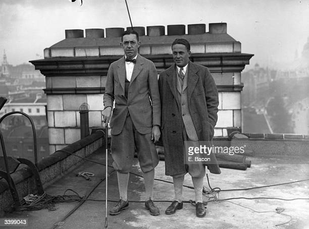 American amateur golfers Francis Cuimet and Bobbie Jones, in Britain for the Walker Cup competition.