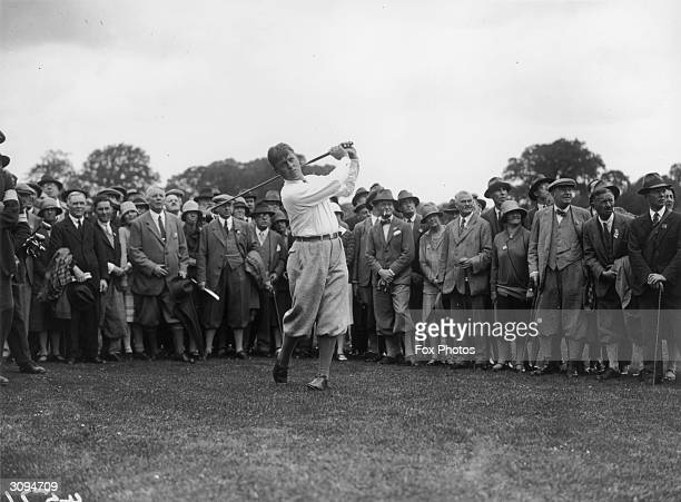 Bobby Jones champion American golfer who won the British Open three times and the US Open four times on Epsom golf course watched by fans