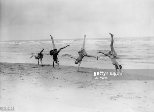 Margaret Morris dancers exercising on the sands at SaintIdesbald in Belgium