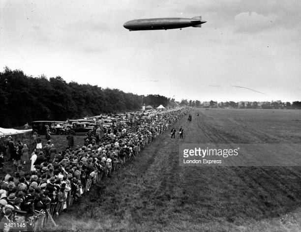 The Graf Zeppelin glides over Hanworth Aerodrome before coming into land, during the aircraft's first flight in Britain.