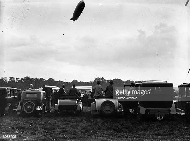 The Graf Zeppelin glides over Hanworth Aerodrome in Middlesex before coming into land during the aircraft's first flight in Britain