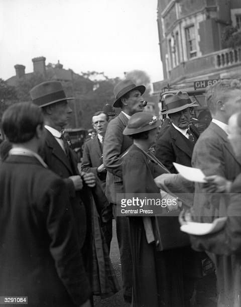 English cricketer Douglas Jardine queuing outside the Oval cricket ground in London, for a test match he is to commentate on.