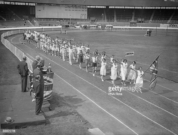 The British team parade at the International Games For The Deaf And Dumb at White City London