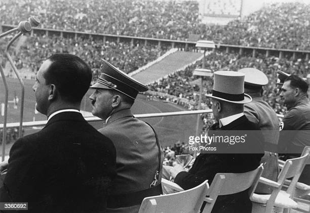 Adolf Hitler watching the Olympic Games in Berlin with the Italian Crown Prince