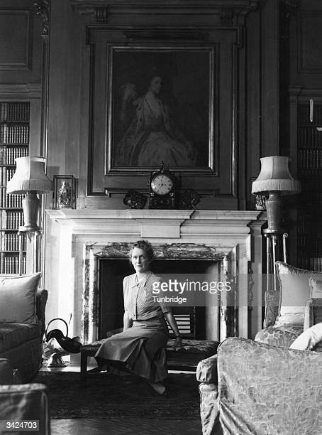 American born British political and social leader Lady Astor in her lounge at Cliveden