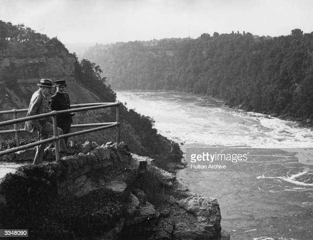 British Prime Minister Winston Churchill with his daughter Mary Churchill at Thompson's Point Niagara Falls Canada