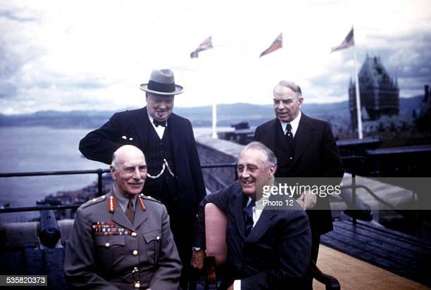 August 1943 Quebec Conference Lord Athlone Winston Churchill President Roosevelt and Mr MacKensie King August 1943 Canada World War II London...