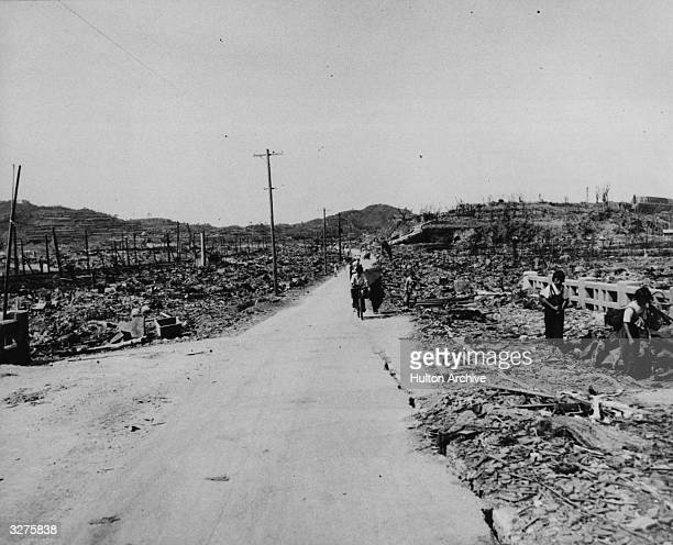 A road in Nagasaki soon after the dropping of the atomic bomb