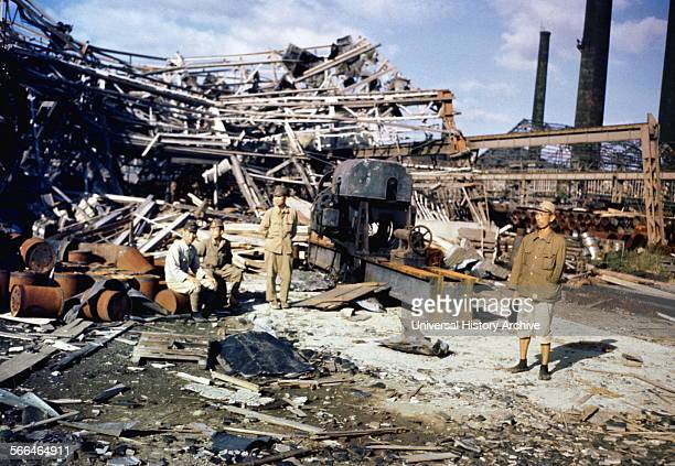 August 1945 damage from the atomic bombing of the Japanese City of Nagasaki at the end of world war two