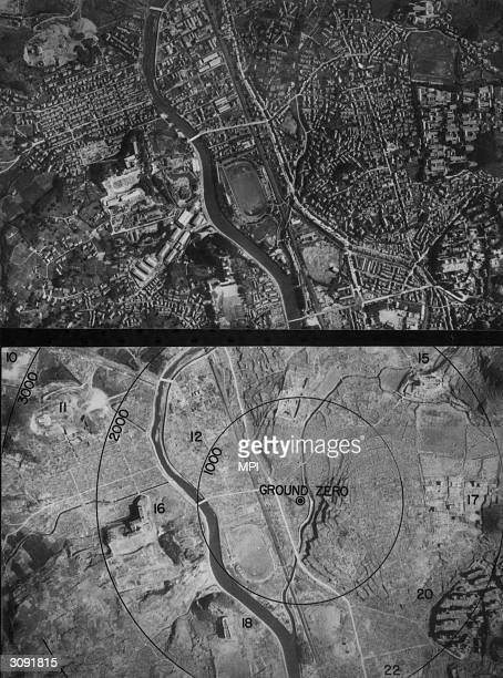 Ground zero in Nagasaki before and after the bombing