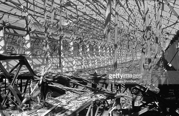 August 1945: The ruins of the Mitsubishi Heavy Industry Nagasaki Shipyard after the atomic bomb attack on the city by the US on 9th August 1945. The...