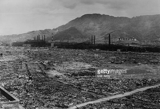 View from the Nagasaki Medical School and Hospital looking southeast across the devastation caused by the US atomic bombing of Nagasaki Japan on...