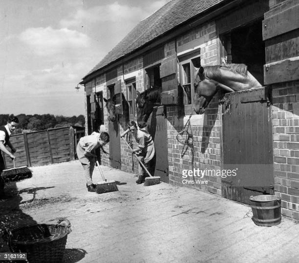 A young apprentice jockey Lester Piggott helps clear up the stable yard watched with interest by the horses in their boxes Lester grew up to ride 29...