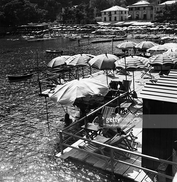 Paraggi Beach near Portofino Italy Original Publication Picture Post 6023 Italian Beach unpub