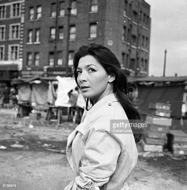 French actress and singer Juliette Greco visiting London's East End