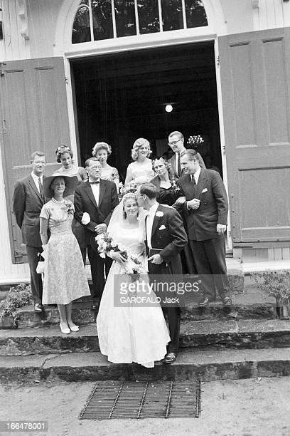 August 1959 Marriage Of Steven Rockefeller And Anne Marie Rasmussen In Norway. 21 et 22 Aout 1959 à Boroya sur l'ile de Soegne en Norvège : mariage...