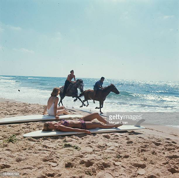 August 1967, tourism in Israel: the beach of the seaside resort Ashkelon.