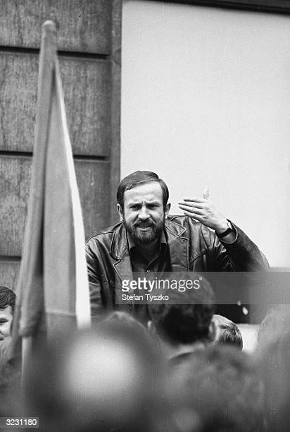 A demonstrative Czechoslovakian speaker addresses the crowd in Prague's St Wenceslas Square during the Soviet invasion