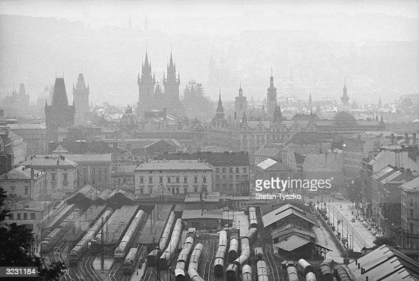 A view of the Czechoslovakian capital Prague from the surrounding hills