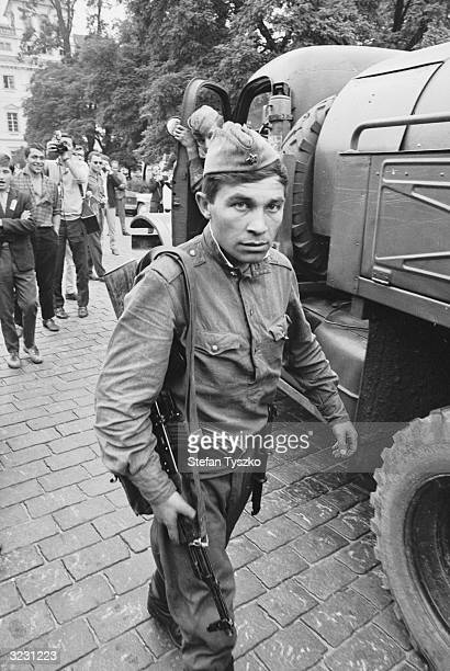An armed Soviet soldier on the streets of Prague during their occupation of the Czechoslovakian city after Alexander Dubcek's 'Prague Spring' reform...