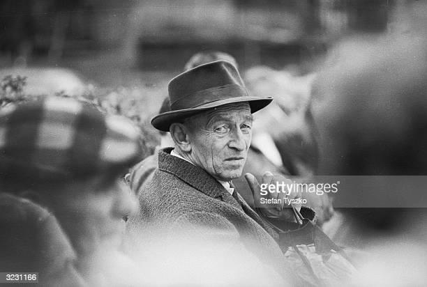 An elderly Czechoslovakian in a Prague park during the Soviet invasion